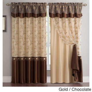 Vcny Audrey 2 Layer Curtain Panel With Attached Backing Valance
