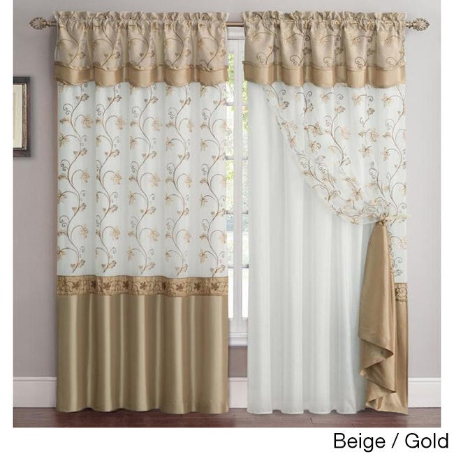 VCNY Audrey 2-Layer Curtain Panel with attached Backing &...