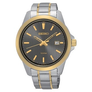 Seiko Men's SUR170 Stainless Steel 100M Water Resistant Watch with a Grey Patterned Dial