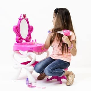 Dimple Princess Vanity Set with 16 Hair & Makeup Acc, Piano & Flashing Lights