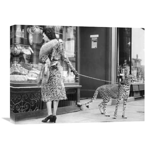Global Gallery 'Elegant Woman with Cheetah' Stretched Canvas Artwork - Black