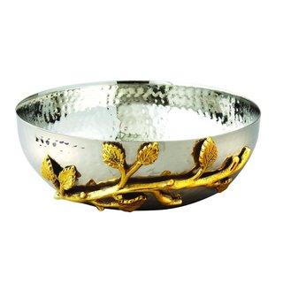 Elegance 6.5-inch Gilt Leaf Hammered Bowl