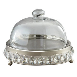 Elegance Nickel-plated Cheese Tray with Glass Beads