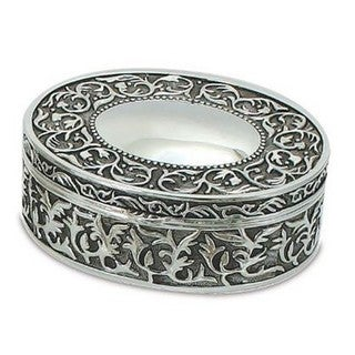 Elegance Nickel Plated Patterned Oval Jewelry Box