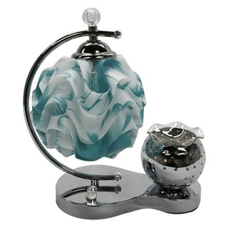 Blue and White Table Lamp with Electric Oil Warmer