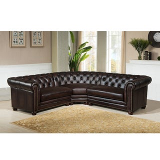 alto premium top grain brown tufted leather sectional sofa