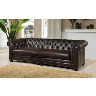 Dax Premium Top Grain Brown Tufted Leather 100-inch Sectional Sofa