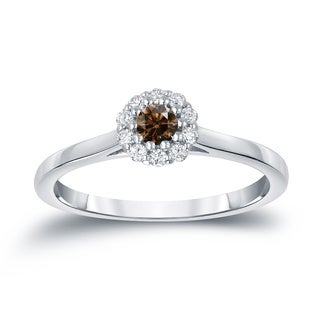 Auriya 14k Gold 1/4ct TDW Round-cut Brown Diamond Halo Engagement Ring (Brown)