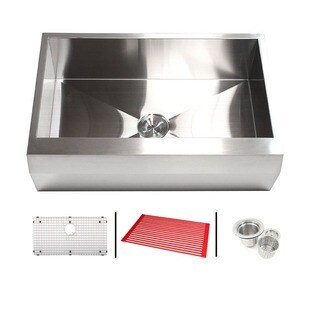 30-inch Zero Radius 16-gauge Stainless Steel Single Bowl Well Angled Farm Apron Kitchen Sink