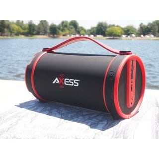 Axess SPBT1033RD Bluetooth SD Card/AUX/FM Inputs 2.1 Hi-Fi Red Cylinder Speaker