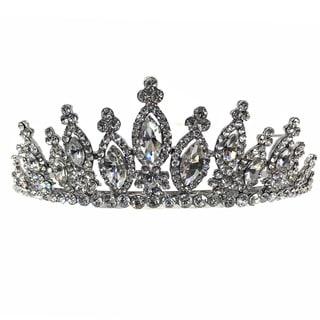 Kate Marie CWN-9782 Rhinestone Silver Crown Tiara Headband