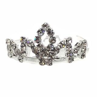 Kate Marie Cwn-c7806 Rhinestone Silver Crown Tiara Comb