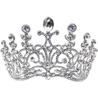 Kate Marie Cwn-c4110rh Silver Rhinestone Crown Tiara Headband