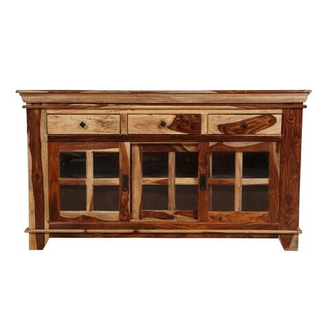 Handmade Porter Taos Solid Sheesham Wood 12-pane Glass Slide-door Cabinet (India)