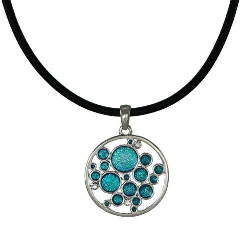 Handmade Jewelry by Dawn Turquoise Blue Bubbles Leather Cord Necklace (USA) - aqua