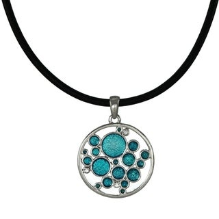 Handmade Jewelry by Dawn Turquoise Blue Bubbles Greek Leather Cord Necklace (USA) - aqua