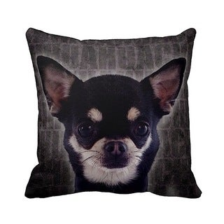 Chihuahua Grunge 16-inch Black Throw Pillow