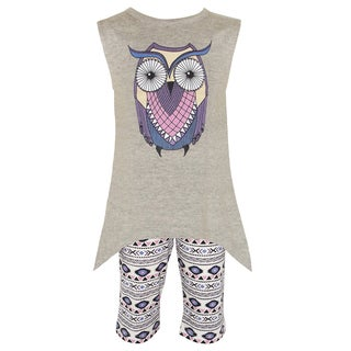 AnnLoren Boutique High Low Tribal Owl Tunic and Shorts Clothing Set