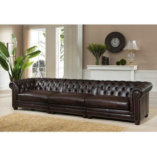 Tex Premium Top Grain Brown Tufted Leather Sectional Sofa