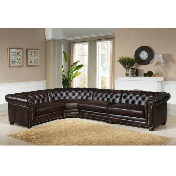 Cody Premium Top Grain Brown Tufted Leather Sectional Sofa Free
