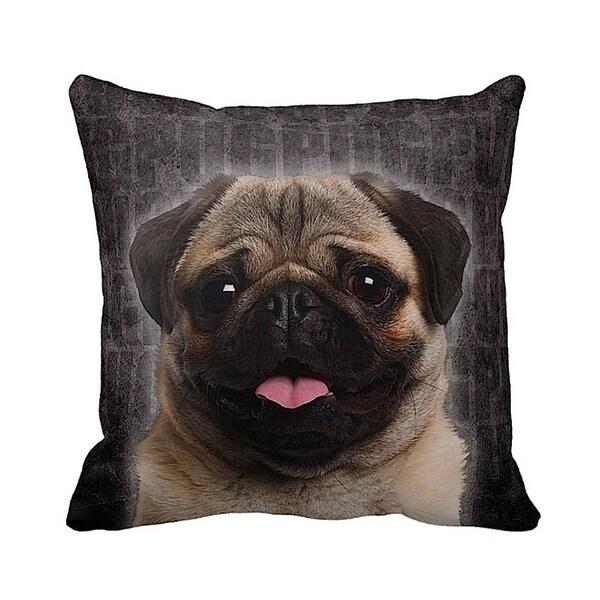 Pug Fawn Grunge 16-inch Black Throw Pillow