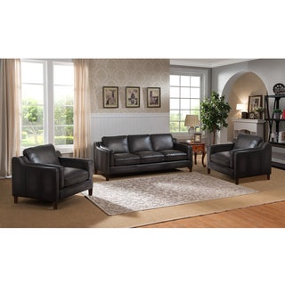 Ames Premium Hand Rubbed Grey Top Grain Leather Sofa and Two Chairs