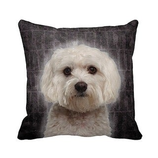 Maltese Grunge 16-inch Black Throw Pillow