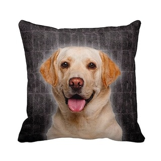 Labrador Grunge 16-inch Black Throw Pillow