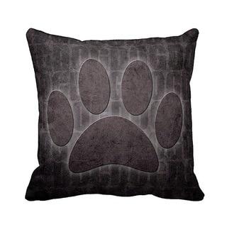 Dog Print Grunge 16-inch Black Throw Pillow