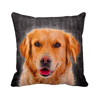 Golden Retriever Grunge 16-inch Black Throw Pillow