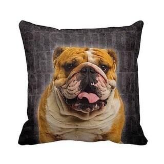 English Bulldog Grunge 16-inch Black Throw Pillow