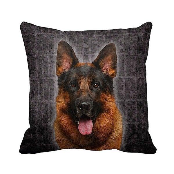 German Shepherd Grunge 16-inch Black Throw Pillow