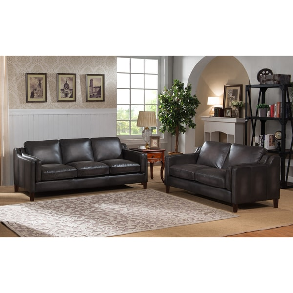 Ames Premium Hand Rubbed Grey Top Grain Leather Sofa and Loveseat