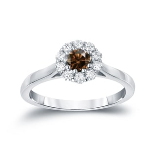 Auriya 14k Gold 1/2 TDW Round-cut Brown Diamond Halo Engagement Ring (Brown, I1-I2)