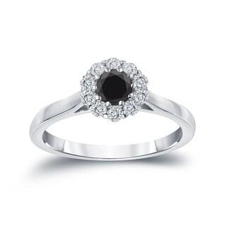 Auriya 14k Gold 1/2ct TDW Round-cut Black Diamond Halo Engagement Ring (Black)