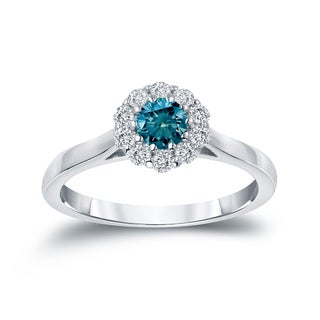 Auriya 14k Gold 1/2ct TDW Round-cut Blue Diamond Halo Engagement Ring (Blue)