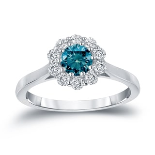 Auriya 14k Gold 3/4ct TDW Round-cut Blue Diamond Halo Engagement Ring (Blue)