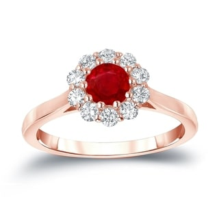 Auriya 14k Gold 1/2ct Ruby and 1/3ct TDW Round Diamond Halo Engagement Ring (Ruby, I1-I2)