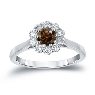 Auriya 14k Gold 3/4ct TDW Round-cut Brown Diamond Halo Engagement Ring (Brown, I1-I2)