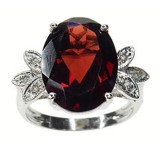 Kabella 14k White Gold Garnet and Diamond Accent Ring