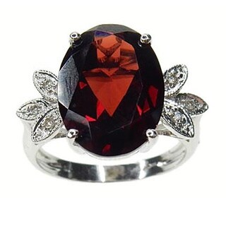 Kabella 14k White Gold Garnet and Diamond Accent Ring