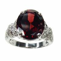 Kabella 14k White Gold Garnet and 1/4ct TDW Diamond Ring (G-H, SI2-SI3)