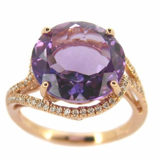 Kabella 18k Rose Gold Amethyst and 1/6ct TDW Diamond Ring Size 6.75 (G-H, SI1-SI2)