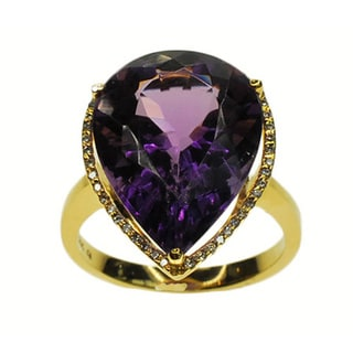 Kabella 14k Yellow Gold Amethyst and 1/8ct TDW Diamond Ring (G-H, SI1-SI2)