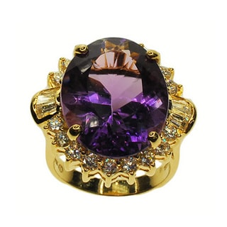 Kabella 14k Yellow Gold Amethyst and 1 1/2ct TDW Diamond Ring (G-H, SI1-SI2)