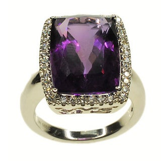 Kabella 14k White Gold Amethyst and 1/3ct TDW Diamond Ring (G-H, SI1-SI2)