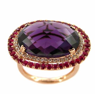 Kabella 14k Rose Gold Oval Amethyst, Ruby and 1/6ct TDW Diamond Ring (G-H, SI1-SI2)