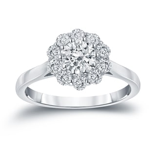 Auriya 14k Gold 1ct TDW Round-cut Diamond Halo Engagement Ring