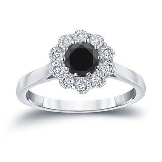 Auriya 14k Gold 1ct TDW Round-cut Black Diamond Halo Engagement Ring (Black)