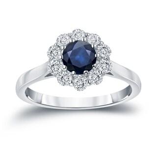 Auriya 14k Gold 3/5ct Blue Sapphire and 1/2ct TDW Diamond Halo Engagement Ring (H-I, I1-I2)